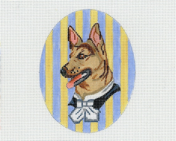 Needlepoint Handpainted Dog Canvas - Small German Shepherd Vignette