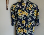 CAMP Clerical shirt yellow tropical flowers on blue. Made to order Size of choice Collar choice TAB or Full-Band ready. Untucked style
