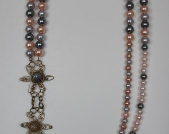 Pink & Grey Pearl Double Strand Necklace