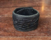 Medieval Weave Leather Cuff Bracelet with secret pocket//  gladiator // rocker // black // punk // teen  // Celtic // steampunk