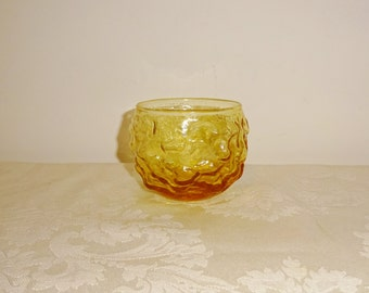 Vintage Anchor Hocking Lido Roly Poly Highball Votive Candle Holder Honey Gold