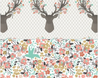 Cart Cover- Reversibe Fawn and Meadow Flowers Highchair/Cart Cover