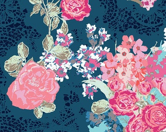 Navy Coral Floral Straight Crib Skirt