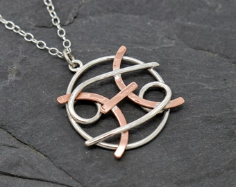 Pisces cancer combined zodiac necklace polished