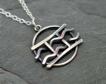 Gemini aquarius combined zodiac necklace sterling silver