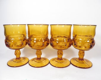 Mid Century King's Amber Gold Thumbprint Wine Glasses - Set of 4 Indiana Glass Thumbprint Goblets