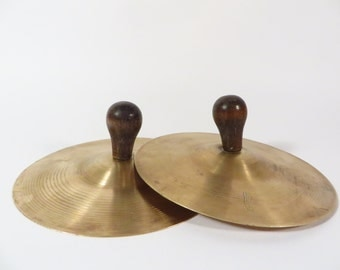 Vintage Small Brass Cymbals - Brass Cymbals Wood Handle