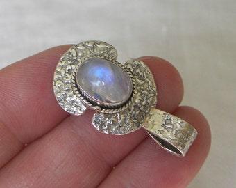 "Moonstone Pendant Handmade Pendant Blue Flash 12x9mm Gemstone Pendant 1 1/4"" Sterling Silver Pendant Take 20% Off Rainbow Moonstone Jewelry"