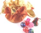 Orange and Gold Dragonscale Round Drawstring Bag, Dice Bag, Gift Bag, Large Size