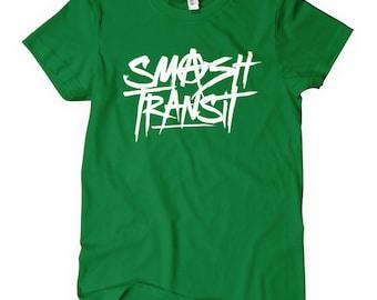 Women's Smash Transit Scrawled T-shirt - S M L XL 2x - Ladies' Anarchy Tee, Graffiti, Street Art - 4 Colors