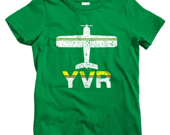 Kids Fly Vancouver T-shirt - YVR Airport - Baby, Toddler, and Youth Sizes - Van City Tee, BC, Canada, Travel, Gift - 2 Colors