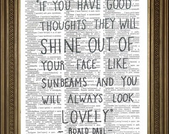 """ROALD DAHL PRINT: Lovely Quote from The Twits, Vintage Dictionary Page Wall Hanging Print (8 x 10"""")"""