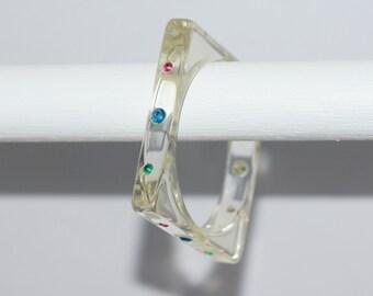 Vintage bracelet - VINTAGE BANGLE - vintage lucite bangle - vintage  clear lucite bangle - clear square lucite bangle with rhinestones