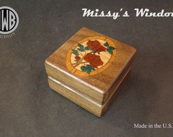 Inlaid Engagement Ring Box with Free Shipping and Engraving.  RB88