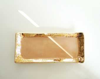 Peach + Gold Dash Tray - (Made To Order)