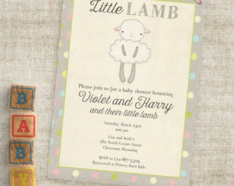Gender Neutral Little Lamb Baby Shower Invitations Baby Girl or Baby Boy Lamb Custom Invites with Professional Printing Option