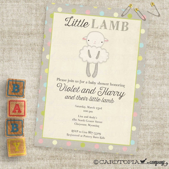 lamb baby shower invitations baby girl or baby boy lamb custom invites