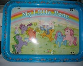 My Little Pony MLP tin food tray with legs dated 1983 Hasbro