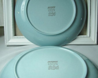 2 Vintage Russel Wright Iroquois blue dinner plates
