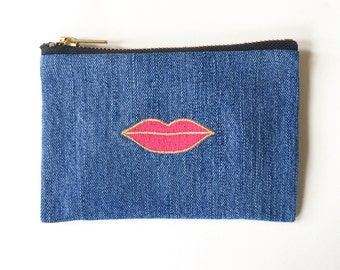 Pink Lip Wallet - Hand Crafted from Salvaged Jeans