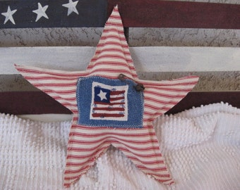 Star Pillow Americana Patriotic Red and White Ticking with Flag on Blue Denim Red Button Home Decor Veterans Military Decorative Pillow