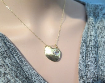 Gold heart necklace, Gold swarovski heart necklace, Heart layering necklace, Dainty gold necklace, Heart pendant necklace, Petite  Necklace