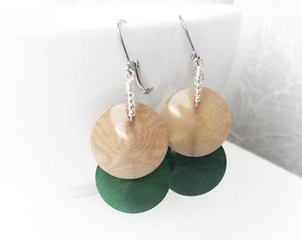 SALE - Tagua Nut Jewelry - Tagua Nut Earrings - Round Disc Tagua - Surgical Steel - Ivory Nut Jewelry