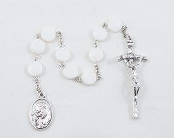 Saint John Paul II JPII White Mother of Pearl Beads (10mm), Patron Saint of World Youth Day - Catholic Prayer Beads