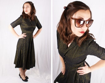 Vintage 1950s Striped Metallic Black and Gold Dress / Size Medium