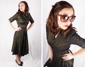 Vintage 1950s Striped Metallic Black and Gold Dress / Size Medium