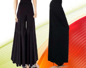 """Palazzo Pants  35 """" Wide Leg High Waist Made To Measurement Matte Jersey Many Colors and Prints"""
