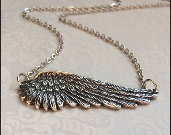 Angel Wing Necklace~SIDEWAYS Silver Wing Jewelry,Silver Feather Necklace, Guardian Angel Necklace, Sideways Pendant, PERFECT GIFT for Her