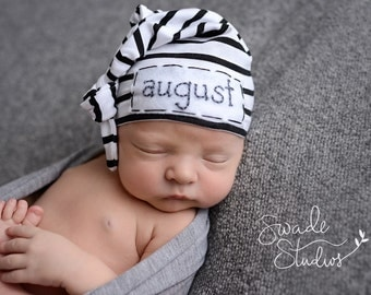 baby name hat - personalized hat - knot hat - baby boy hospital hat - hospital hat - personalized baby - little brother outfit