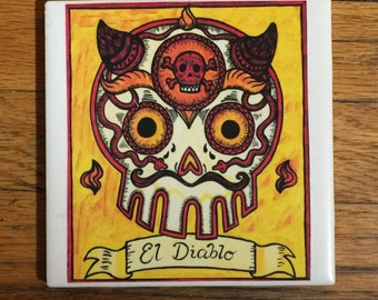 El Diablo (The Devil) Ceramic Tile Coaster -  Loteria and Day of the Dead skull Dia de los Muertos calavera designs
