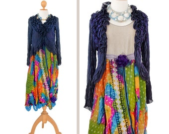 Silk maxi dress Tattered Boho colorful Sheer Cardigan purple Ragged gypsy dress Silk Sleeveless Hippy chic Long Bohemian whimsical Pompom