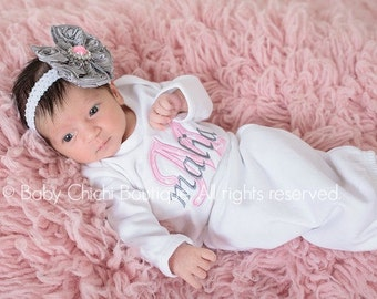 Newborn girl gown Infant gown Baby girl gown Monogrammed gown Personalized gown Take home outfit Pink and Gray Quatrefoil Applique Gown