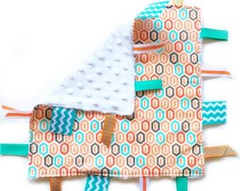 SALE Orange-Geo - Baby Boy ribbon tag lovey sensory blanket toy with white minky