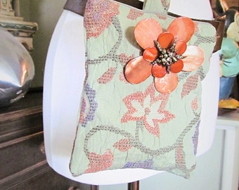 One of a Kind Jacobean Floral Fabric Versatile Bag, Clutch, Fanny Pack!