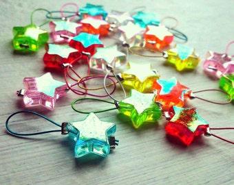 20 Knitting stitch markers Twinkle Stars