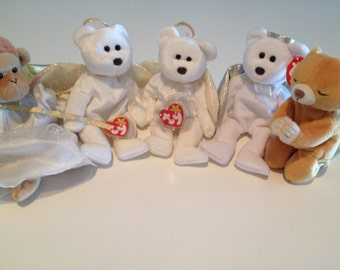 Beanie Babies 4 Bears and a Monkey TY Hope, Halo Halo II Bongo