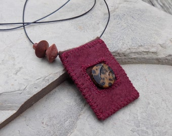 Red Wool Vintage - Textile Necklace / Treasure Carrier / Wearable Art / Pocket Necklace