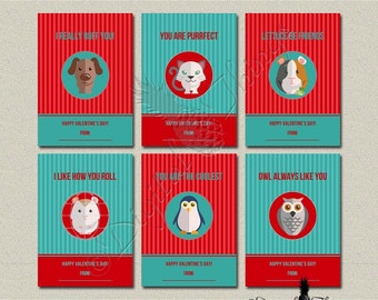 Digital Printable Animal Valentines Day Cards Kids Valentines Cards Childrens Classroom Valentines Digital Download Instant Download DT1798