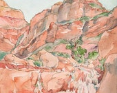 Grand Canyon Stone Creek Waterfall - Small Print of Watercolor Painting