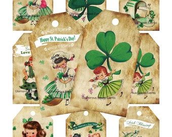 INSTANT DOWNLOAD, Vintage St. Patrick's Day gift Tags, St. Patrick's Day Labels, Merchandise Tags, Printable, Retro gift tags