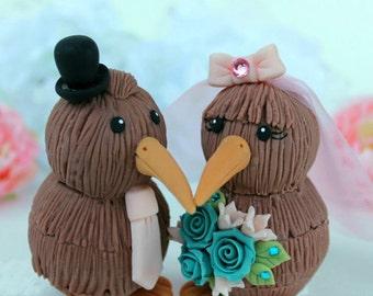Custom wedding cake topper, kiwi bird cake topper, love birds with banner