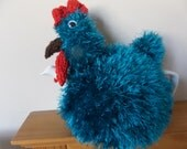 Hand Knitted Tea Cosy -  Fluffy Chicken Hen in Turquoise