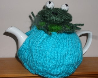 Hand Knitted Tea Cosy - Frog on a Lily Pad