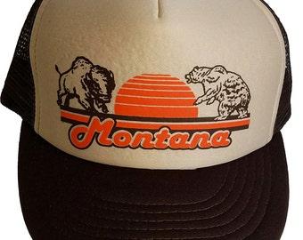Montana Buffalo Bear  Snapback Mesh Trucker Hat Cap Brown