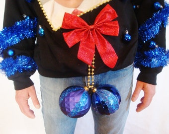 BLUE BALLS Ugly Christmas Sweater Contest Winner. Elvis X-mas NAUGHTY x-rated Lewd Funny Music Size m l xl xxl 3xl