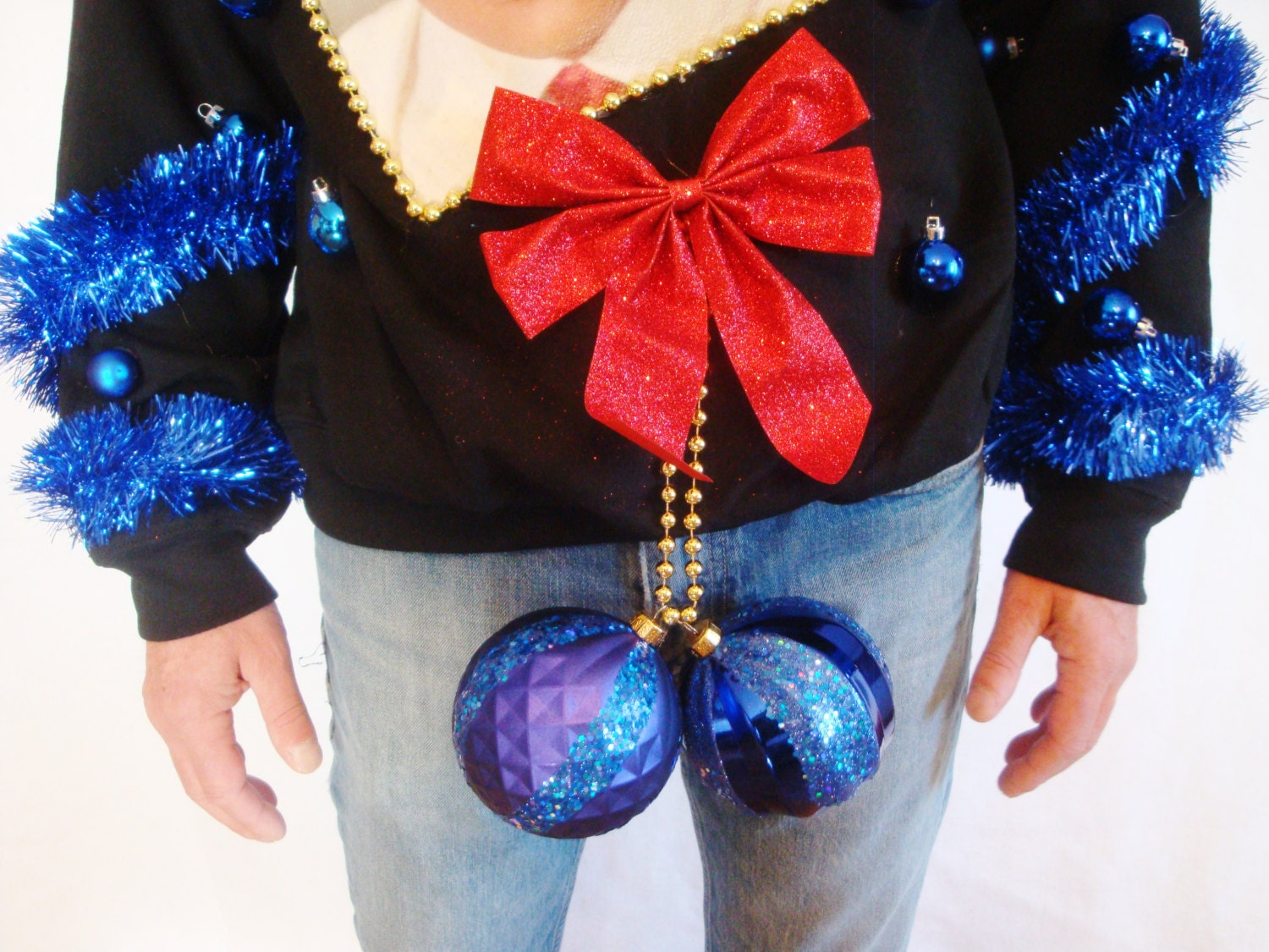 BLUE BALLS Ugly Christmas Sweater Contest Winner. Elvis X-mas